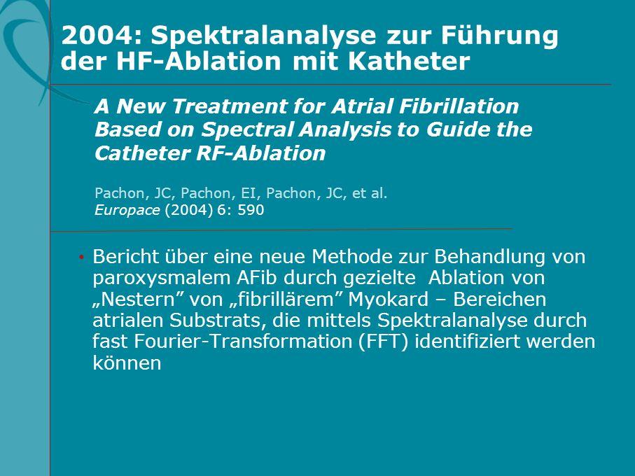 2004: Spektralanalyse zur Führung der HF-Ablation mit Katheter Bericht über eine neue Methode zur Behandlung von paroxysmalem AFib durch gezielte Abla