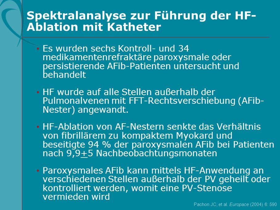 Spektralanalyse zur Führung der HF- Ablation mit Katheter Pachon JC, et al. Europace (2004) 6: 590 Es wurden sechs Kontroll- und 34 medikamentenrefrak