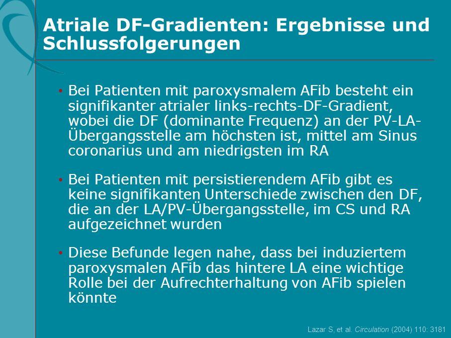 Atriale DF-Gradienten: Ergebnisse und Schlussfolgerungen Bei Patienten mit paroxysmalem AFib besteht ein signifikanter atrialer links-rechts-DF-Gradie