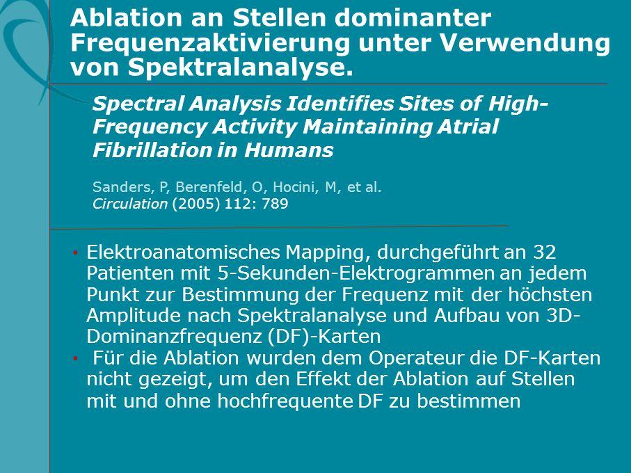Ablation an Stellen dominanter Frequenzaktivierung unter Verwendung von Spektralanalyse. Elektroanatomisches Mapping, durchgeführt an 32 Patienten mit