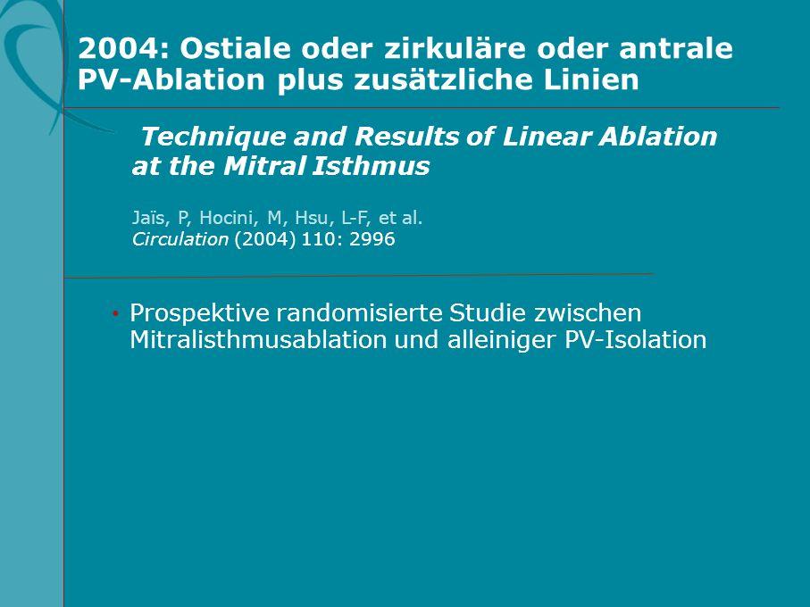 2004: Ostiale oder zirkuläre oder antrale PV-Ablation plus zusätzliche Linien Prospektive randomisierte Studie zwischen Mitralisthmusablation und alle