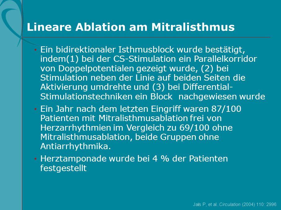 Jaïs P, et al. Circulation (2004) 110: 2996 Lineare Ablation am Mitralisthmus Ein bidirektionaler Isthmusblock wurde bestätigt, indem(1) bei der CS-St
