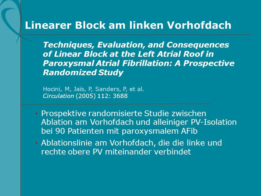 Prospektive randomisierte Studie zwischen Ablation am Vorhofdach und alleiniger PV-Isolation bei 90 Patienten mit paroxysmalem AFib Ablationslinie am