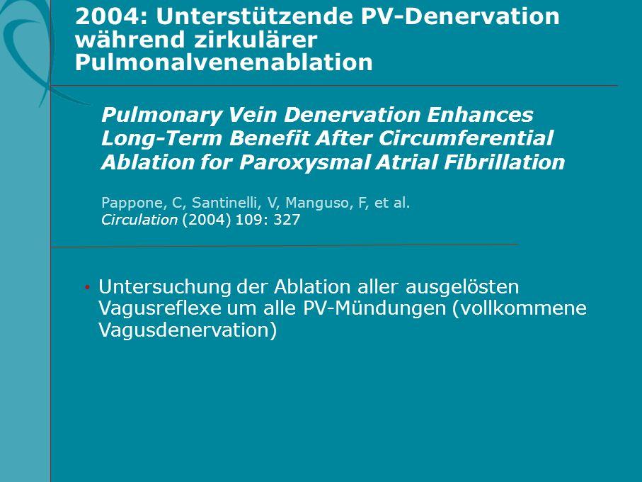 2004: Unterstützende PV-Denervation während zirkulärer Pulmonalvenenablation Untersuchung der Ablation aller ausgelösten Vagusreflexe um alle PV-Mündu