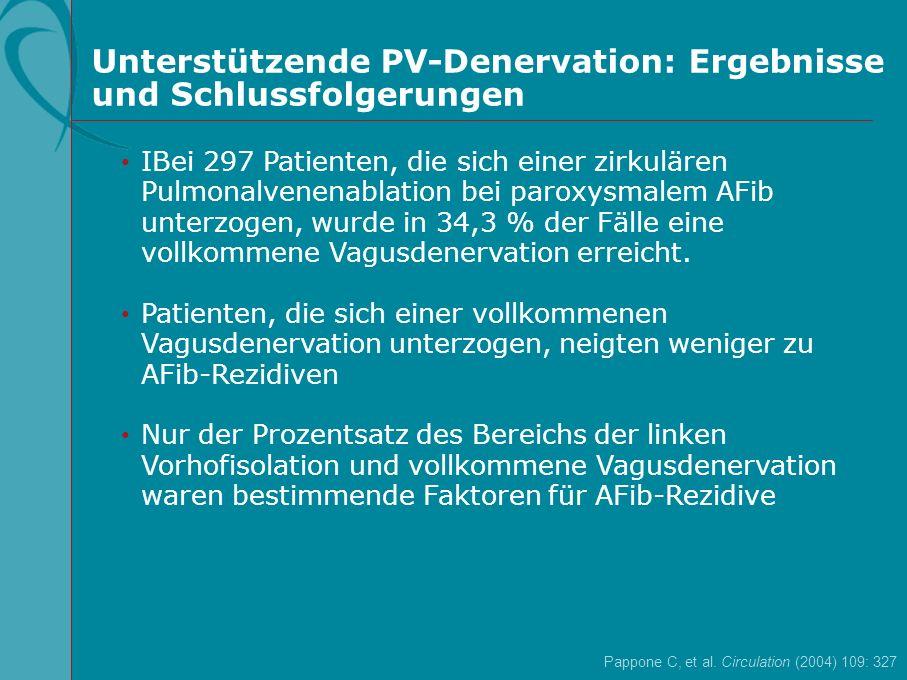 Pappone C, et al. Circulation (2004) 109: 327 IBei 297 Patienten, die sich einer zirkulären Pulmonalvenenablation bei paroxysmalem AFib unterzogen, wu