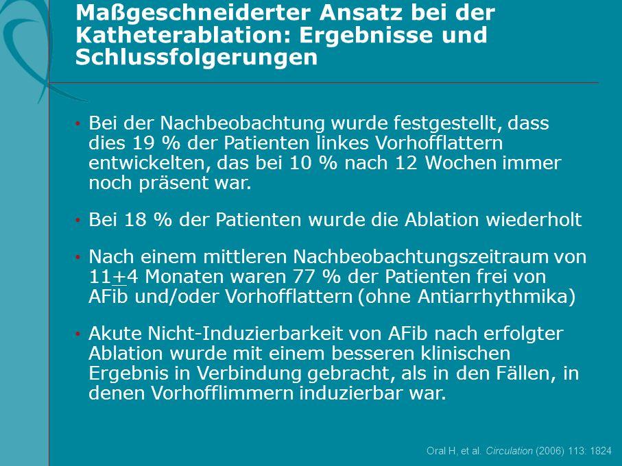 Maßgeschneiderter Ansatz bei der Katheterablation: Ergebnisse und Schlussfolgerungen Oral H, et al. Circulation (2006) 113: 1824 Bei der Nachbeobachtu