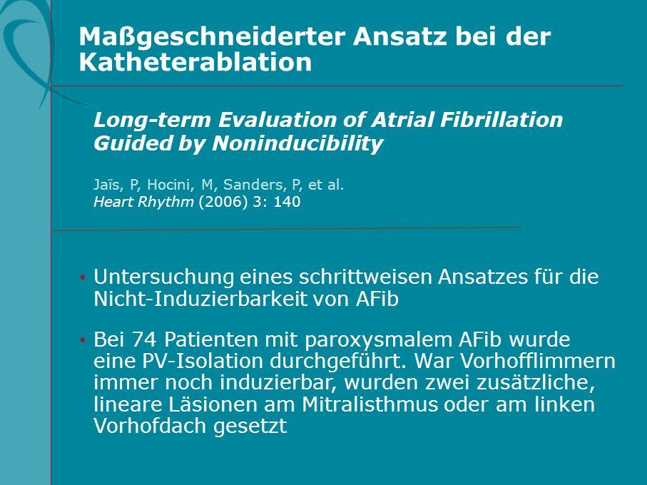 Maßgeschneiderter Ansatz bei der Katheterablation Untersuchung eines schrittweisen Ansatzes für die Nicht-Induzierbarkeit von AFib Bei 74 Patienten mi