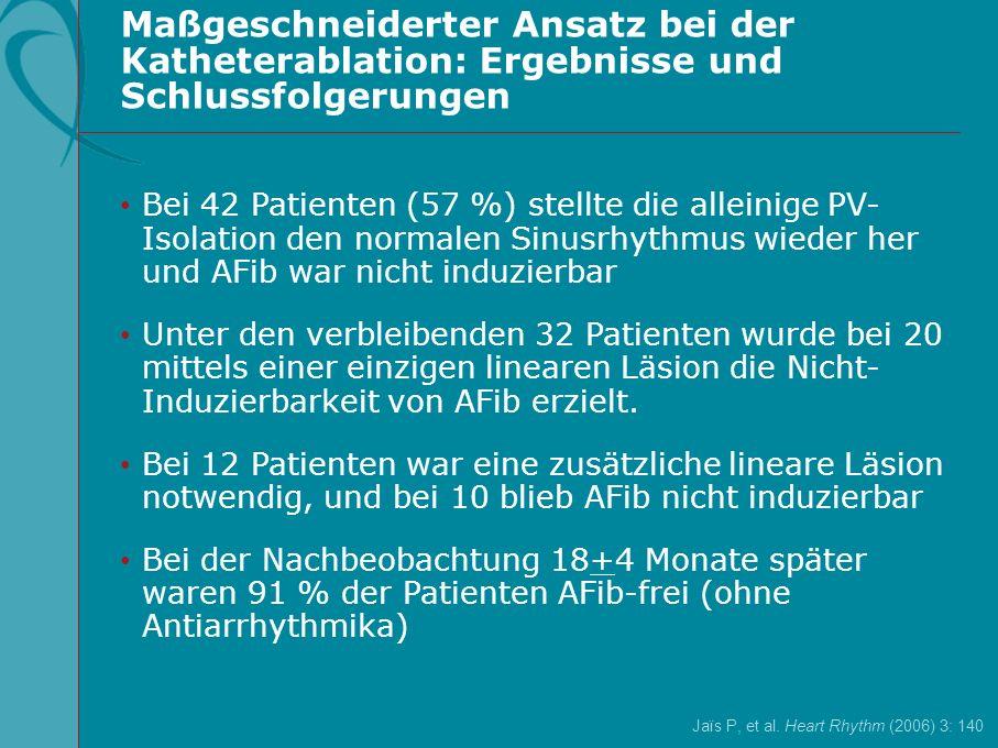 Ja ï s P, et al. Heart Rhythm (2006) 3: 140 Maßgeschneiderter Ansatz bei der Katheterablation: Ergebnisse und Schlussfolgerungen Bei 42 Patienten (57