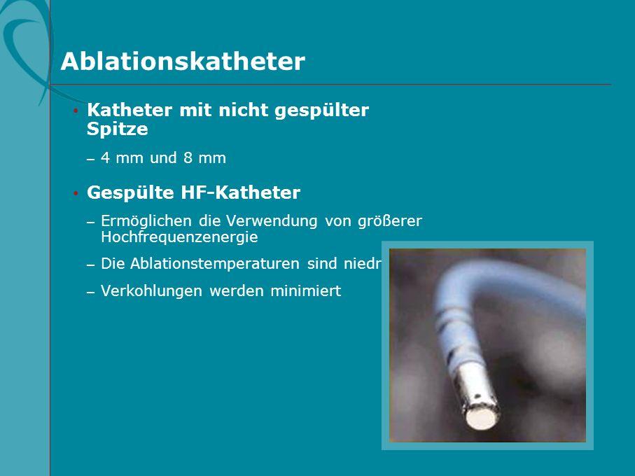 Ablationskatheter Katheter mit nicht gespülter Spitze – 4 mm und 8 mm Gespülte HF-Katheter – Ermöglichen die Verwendung von größerer Hochfrequenzenerg