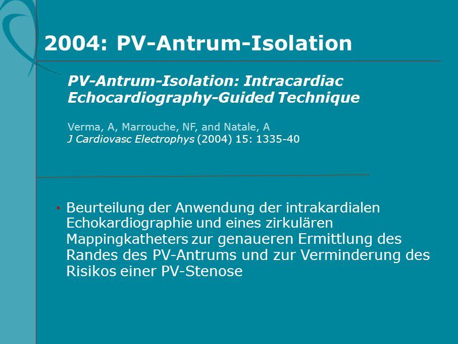 2004: PV-Antrum-Isolation Beurteilung der Anwendung der intrakardialen Echokardiographie und eines zirkulären Mappingkatheters zur genaueren Ermittlun