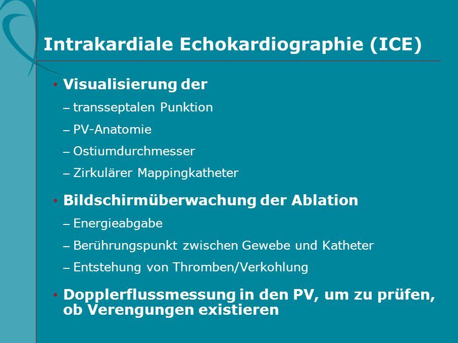 Intrakardiale Echokardiographie (ICE) Visualisierung der – transseptalen Punktion – PV-Anatomie – Ostiumdurchmesser – Zirkulärer Mappingkatheter Bilds