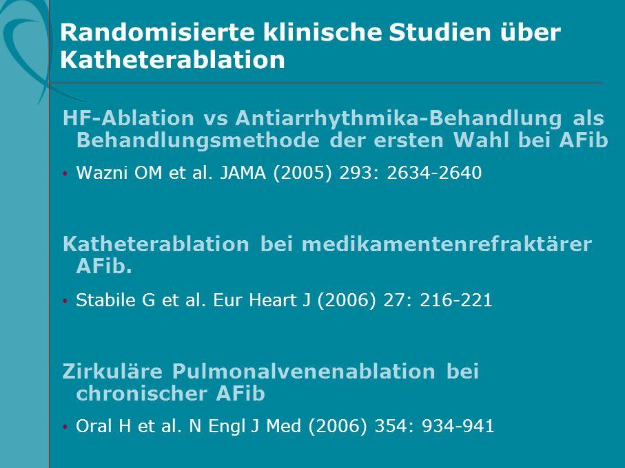 Randomisierte klinische Studien über Katheterablation HF-Ablation vs Antiarrhythmika-Behandlung als Behandlungsmethode der ersten Wahl bei AFib Wazni