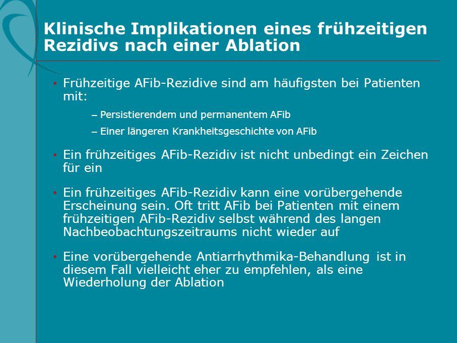 Klinische Implikationen eines frühzeitigen Rezidivs nach einer Ablation Frühzeitige AFib-Rezidive sind am häufigsten bei Patienten mit: –Persistierend