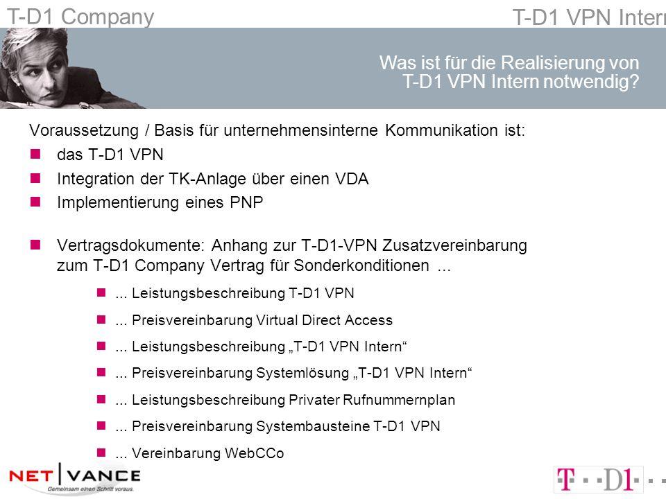 T-D1 Company T-D1 VPN Intern Voraussetzung / Basis für unternehmensinterne Kommunikation ist: ndas T-D1 VPN nIntegration der TK-Anlage über einen VDA nImplementierung eines PNP nVertragsdokumente: Anhang zur T-D1-VPN Zusatzvereinbarung zum T-D1 Company Vertrag für Sonderkonditionen...
