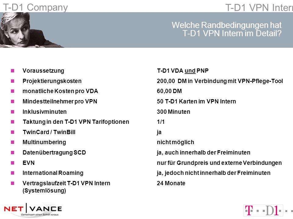 T-D1 Company T-D1 VPN Intern Welche Randbedingungen hat T-D1 VPN Intern im Detail? nVoraussetzungT-D1 VDA und PNP nProjektierungskosten200,00 DM in Ve