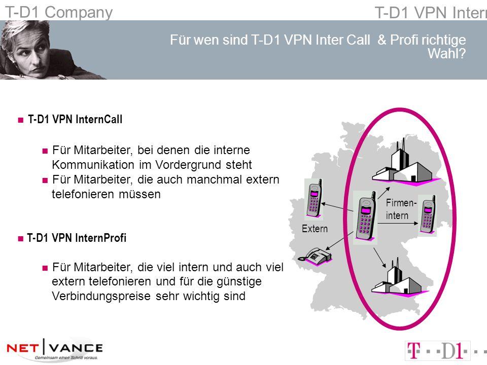 T-D1 Company T-D1 VPN Intern Welche Verbindungspreise zahlt der mobile Teilnehmer bei T-D1 VPN Intern?...TK-Anlage im VPN, über PN Freiminuten...TK-Anlage im VPN, öffRufNr.