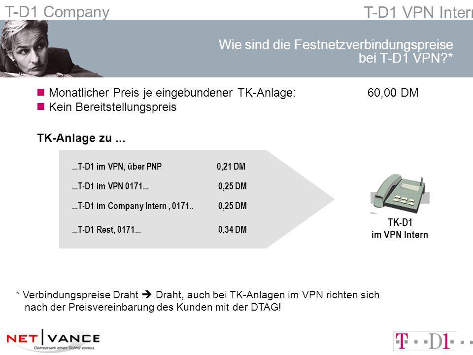 T-D1 Company T-D1 VPN Intern Wie sind die Festnetzverbindungspreise bei T-D1 VPN *...T-D1 im VPN, über PNP 0,21 DM...T-D1 im VPN 0171...