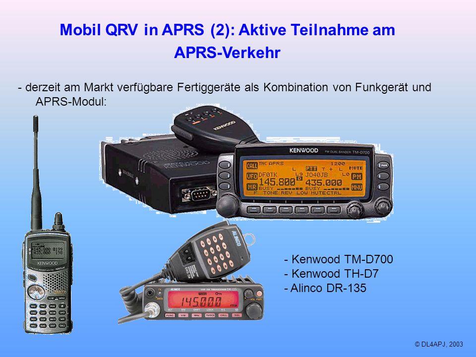 © DL4APJ, 2003 Mobil QRV in APRS (2): Aktive Teilnahme am APRS-Verkehr - derzeit am Markt verfügbare Fertiggeräte als Kombination von Funkgerät und AP