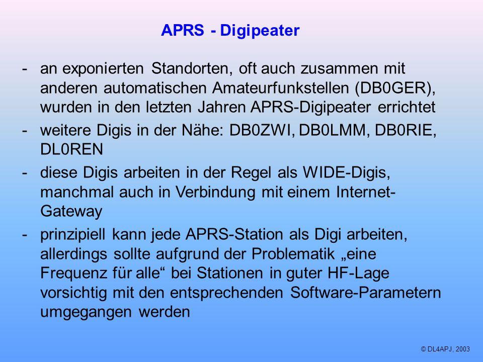 © DL4APJ, 2003 APRS - Digipeater -an exponierten Standorten, oft auch zusammen mit anderen automatischen Amateurfunkstellen (DB0GER), wurden in den le
