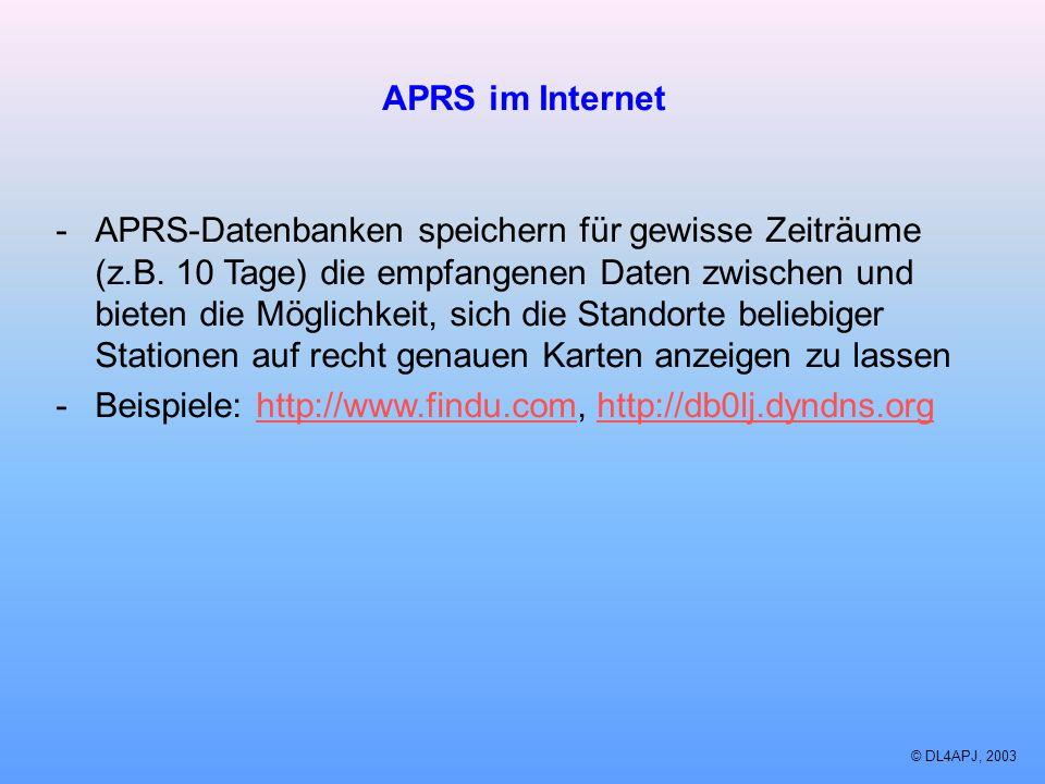 © DL4APJ, 2003 APRS im Internet -APRS-Datenbanken speichern für gewisse Zeiträume (z.B. 10 Tage) die empfangenen Daten zwischen und bieten die Möglich