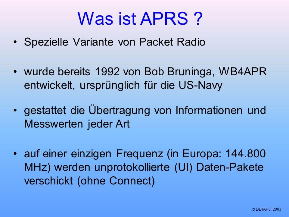 Was ist APRS ? Spezielle Variante von Packet Radio wurde bereits 1992 von Bob Bruninga, WB4APR entwickelt, ursprünglich für die US-Navy gestattet die