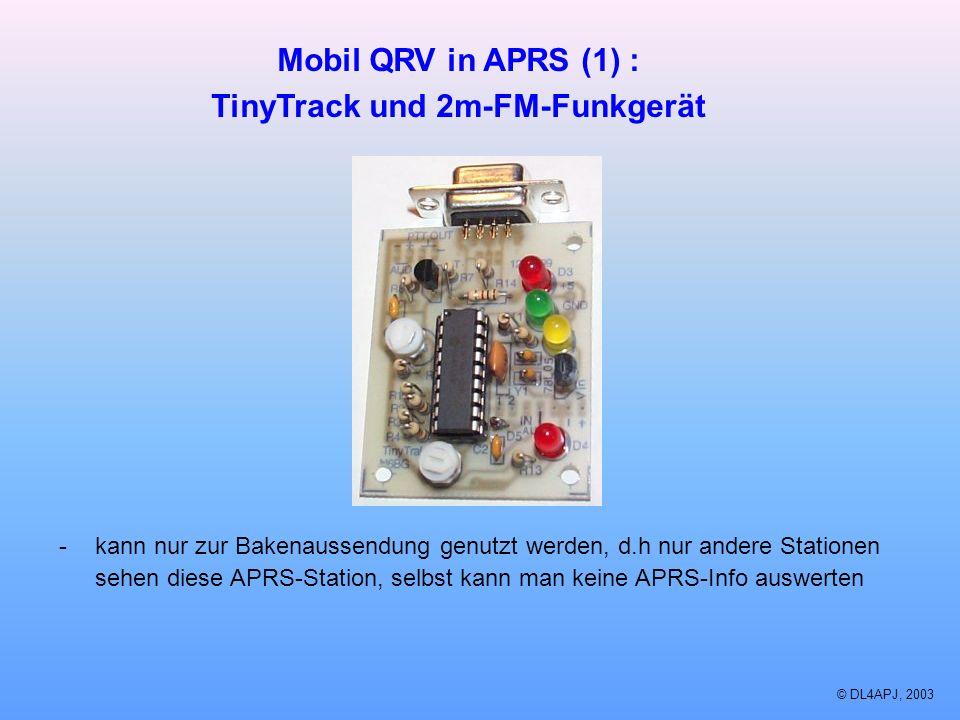 © DL4APJ, 2003 Mobil QRV in APRS (1) : TinyTrack und 2m-FM-Funkgerät -kann nur zur Bakenaussendung genutzt werden, d.h nur andere Stationen sehen dies