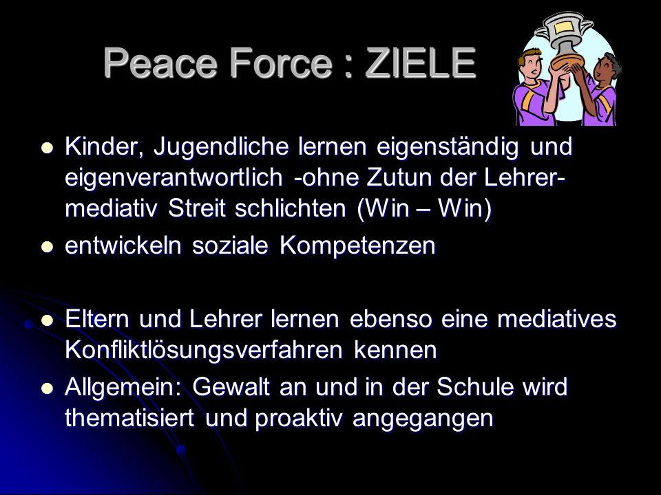 Peace Force : ZIELE Kinder, Jugendliche lernen eigenständig und eigenverantwortlich -ohne Zutun der Lehrer- mediativ Streit schlichten (Win – Win) Kin