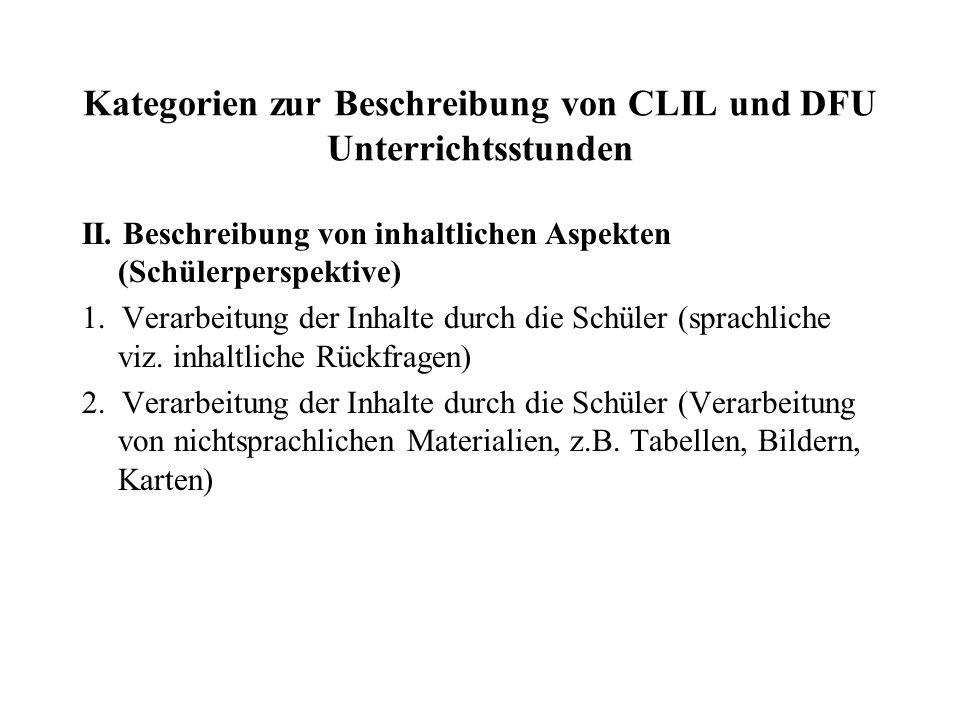 Kategorien zur Beschreibung von CLIL und DFU Unterrichtsstunden III.