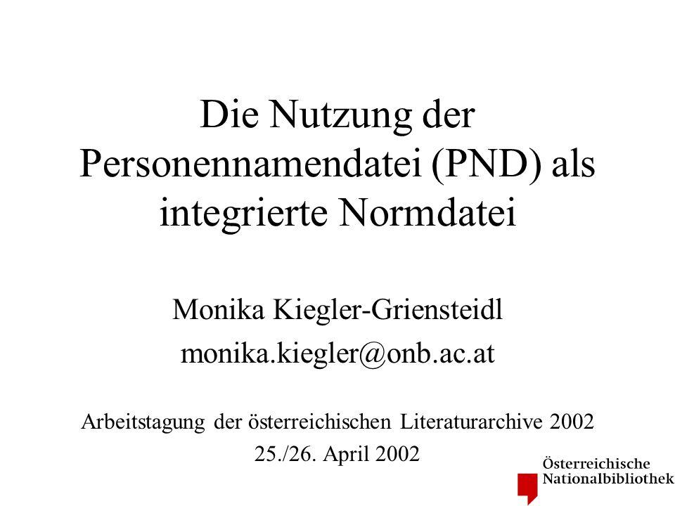 PND - allgemein Die Personennamendatei (PND) wurde von 1995 bis 1998 in einem von der Deutschen Forschungsgemeinschaft (DFG) geförderten Projekt aufgebaut In der PND werden alle für Formal- und Sacherschließung sowie nationale Katalogisierungsunternehmungen wesentlichen Namen der Kooperationspartner zusammengeführt