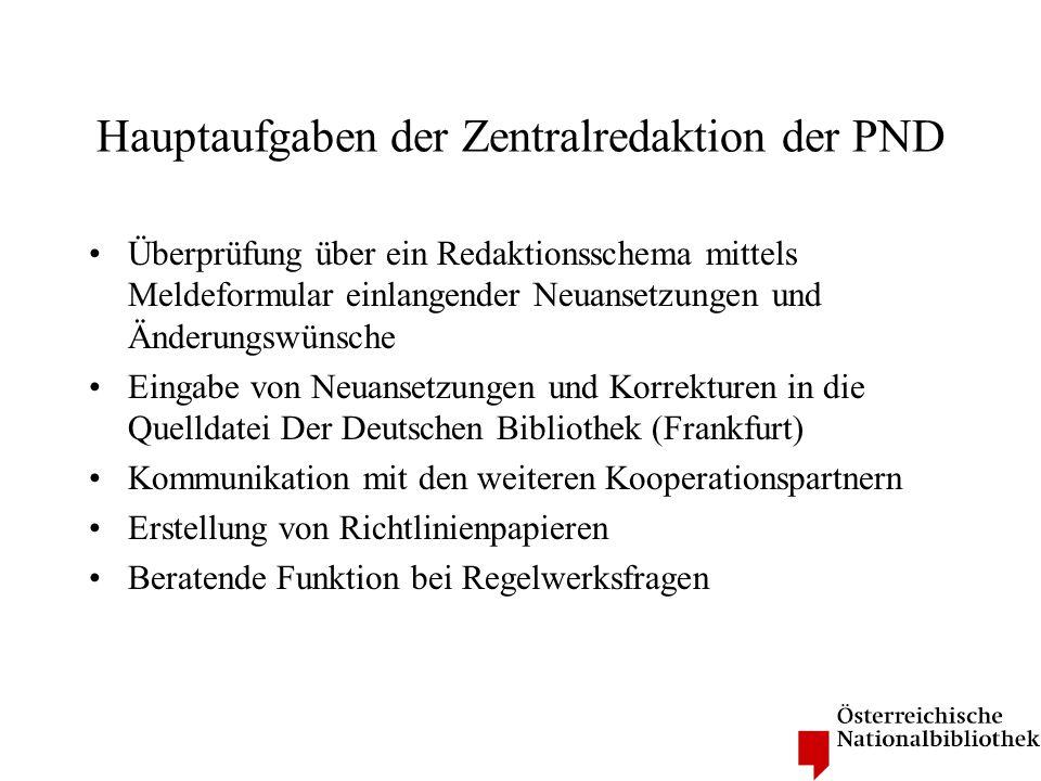 Hauptaufgaben der Zentralredaktion der PND Überprüfung über ein Redaktionsschema mittels Meldeformular einlangender Neuansetzungen und Änderungswünsch