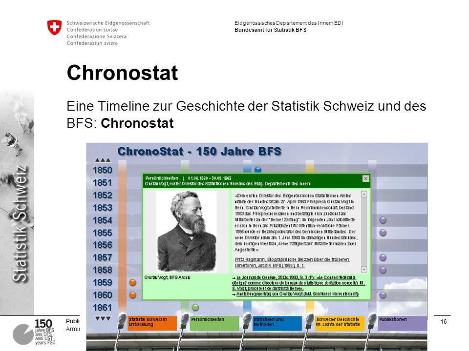 16 Publizieren für Print und Online | Gestern – heute – morgen Armin Grossenbacher Eidgenössisches Departement des Innern EDI Bundesamt für Statistik BFS Chronostat Eine Timeline zur Geschichte der Statistik Schweiz und des BFS: Chronostat