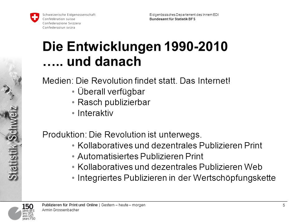 6 Publizieren für Print und Online | Gestern – heute – morgen Armin Grossenbacher Eidgenössisches Departement des Innern EDI Bundesamt für Statistik BFS Workshop Diffusion Die Präsentationen