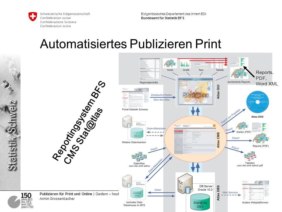 8 Publizieren für Print und Online | Gestern – heute – morgen Armin Grossenbacher Eidgenössisches Departement des Innern EDI Bundesamt für Statistik BFS Automatisiertes Publizieren Print Reportingsystem BFS CMS Stat@tlas Reports.