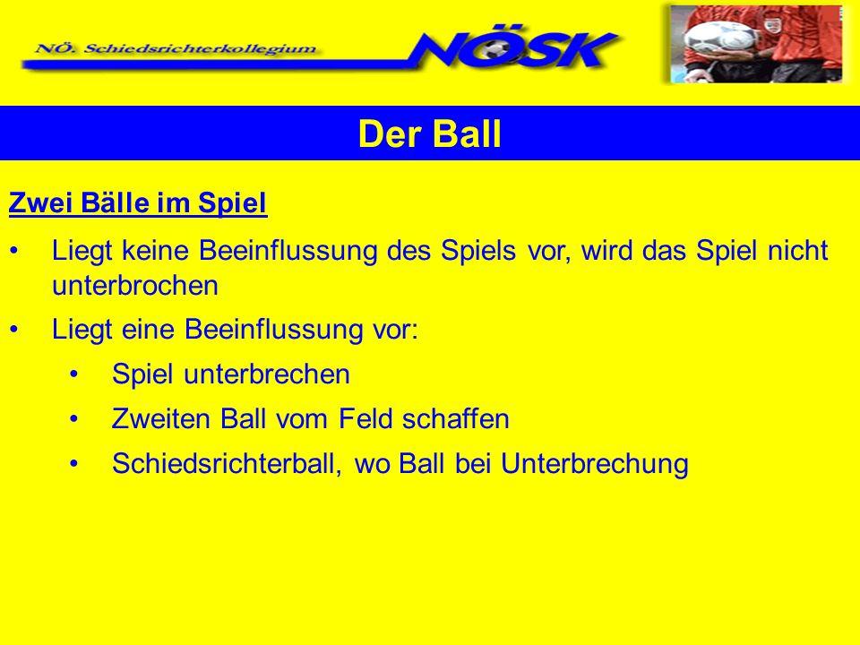 Der Ball Zwei Bälle im Spiel Liegt keine Beeinflussung des Spiels vor, wird das Spiel nicht unterbrochen Liegt eine Beeinflussung vor: Spiel unterbrec