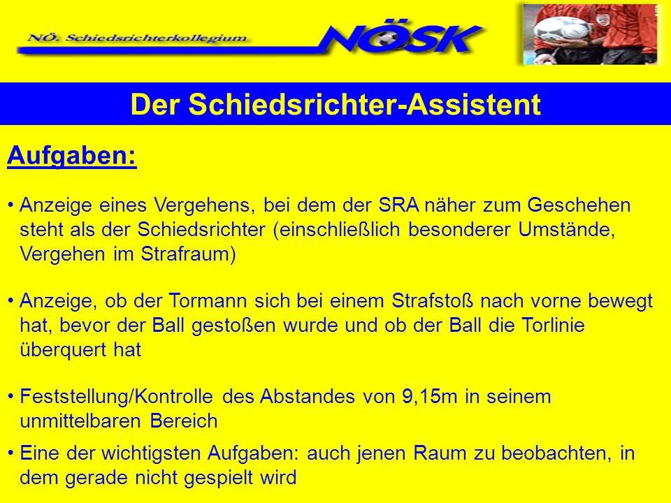 Aufgaben: Anzeige eines Vergehens, bei dem der SRA näher zum Geschehen steht als der Schiedsrichter (einschließlich besonderer Umstände, Vergehen im S