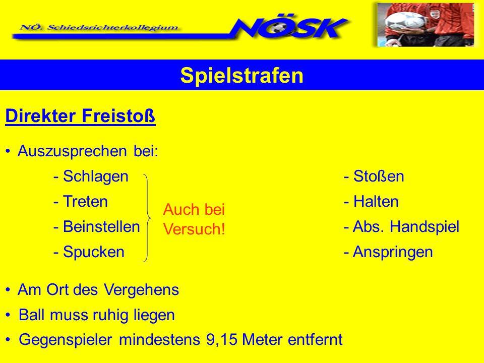 Direkter Freistoß Auszusprechen bei: - Schlagen- Stoßen - Treten- Halten - Beinstellen- Abs. Handspiel - Spucken- Anspringen Am Ort des Vergehens Ball