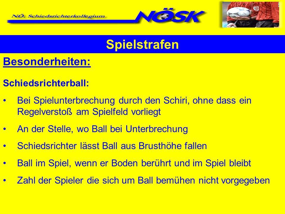 Spielstrafen Besonderheiten: Schiedsrichterball: Bei Spielunterbrechung durch den Schiri, ohne dass ein Regelverstoß am Spielfeld vorliegt An der Stel