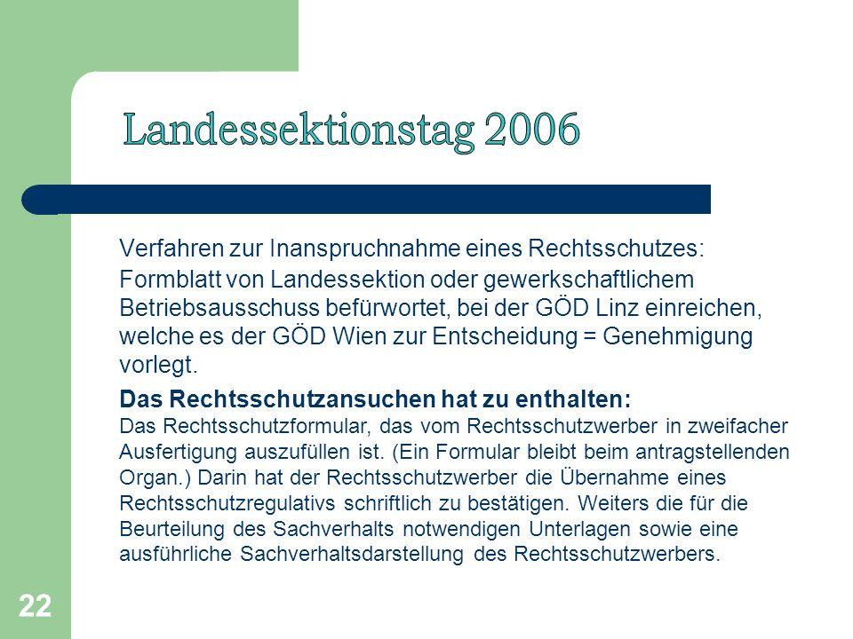 22 Verfahren zur Inanspruchnahme eines Rechtsschutzes: Formblatt von Landessektion oder gewerkschaftlichem Betriebsausschuss befürwortet, bei der GÖD Linz einreichen, welche es der GÖD Wien zur Entscheidung = Genehmigung vorlegt.