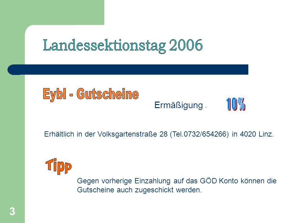 3 Ermäßigung - Erhältlich in der Volksgartenstraße 28 (Tel.0732/654266) in 4020 Linz.