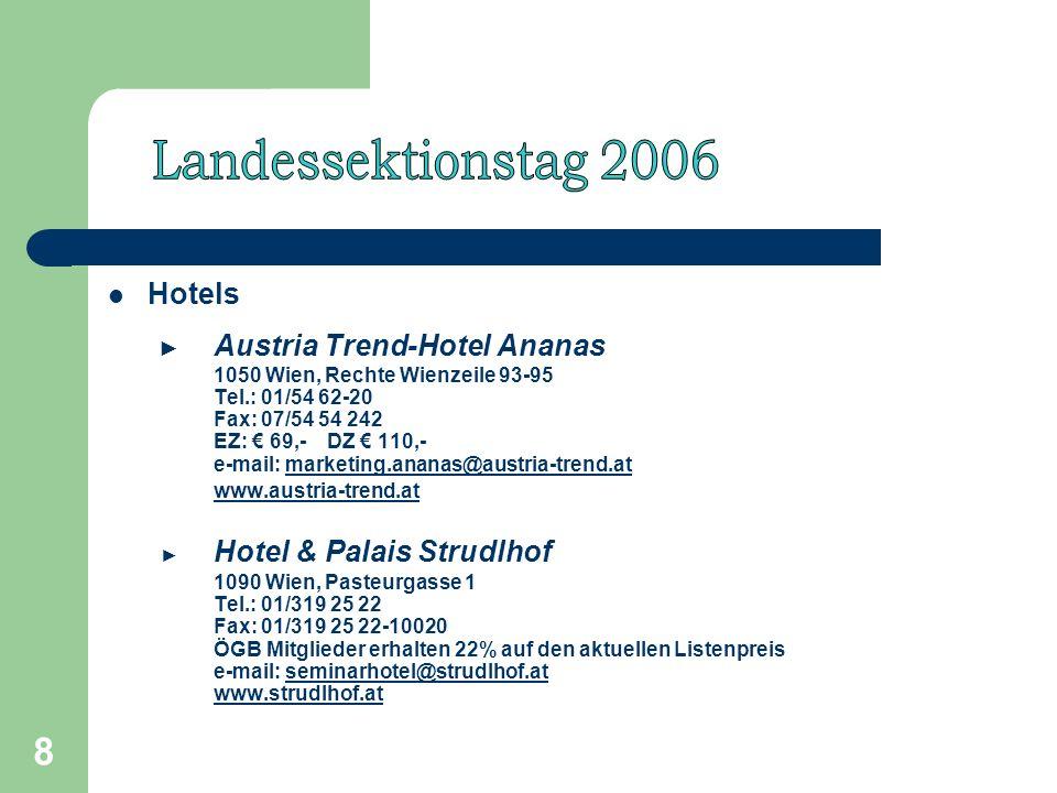 8 Hotels Austria Trend-Hotel Ananas 1050 Wien, Rechte Wienzeile 93-95 Tel.: 01/54 62-20 Fax: 07/54 54 242 EZ: 69,- DZ 110,- e-mail: marketing.ananas@austria-trend.atmarketing.ananas@austria-trend.at www.austria-trend.at Hotel & Palais Strudlhof 1090 Wien, Pasteurgasse 1 Tel.: 01/319 25 22 Fax: 01/319 25 22-10020 ÖGB Mitglieder erhalten 22% auf den aktuellen Listenpreis e-mail: seminarhotel@strudlhof.at www.strudlhof.atseminarhotel@strudlhof.at www.strudlhof.at