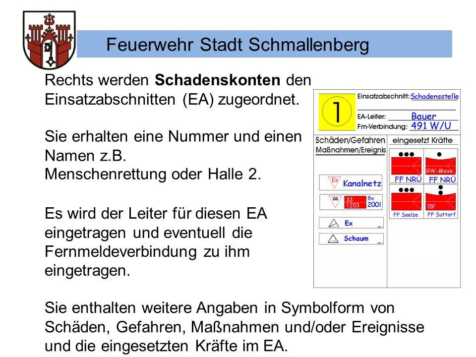Feuerwehr Stadt Schmallenberg Rechts werden Schadenskonten den Einsatzabschnitten (EA) zugeordnet.