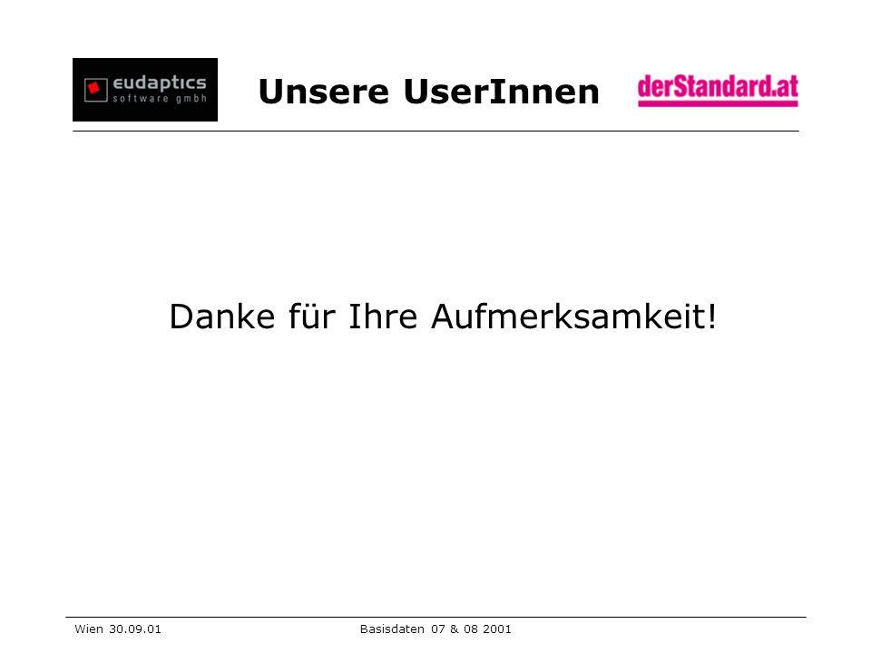 Unsere UserInnen Wien 30.09.01Basisdaten 07 & 08 2001 Danke für Ihre Aufmerksamkeit!