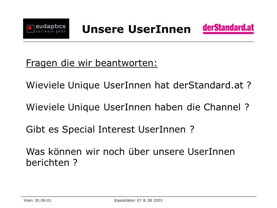 Unsere UserInnen Wien 30.09.01Basisdaten 07 & 08 2001 Fragen die wir beantworten: Wieviele Unique UserInnen hat derStandard.at .