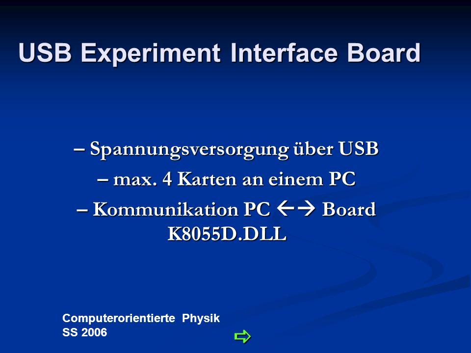 Computerorientierte Physik SS 2006 Technische Daten - Schnittstellen digitale Ausgänge: 50V/100mA digitale Ausgänge: 50V/100mA PWM Ausgänge: 40V/100mA PWM Ausgänge: 40V/100mA