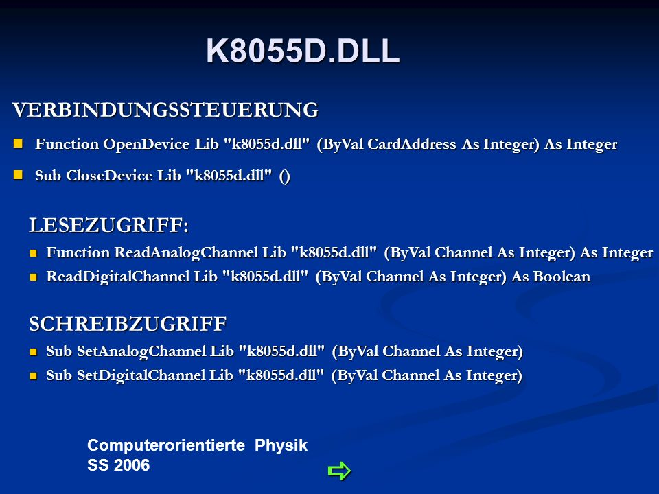 Computerorientierte Physik SS 2006 K8055D.DLL VERBINDUNGSSTEUERUNG Function OpenDevice Lib k8055d.dll (ByVal CardAddress As Integer) As Integer Function OpenDevice Lib k8055d.dll (ByVal CardAddress As Integer) As Integer Sub CloseDevice Lib k8055d.dll () Sub CloseDevice Lib k8055d.dll () LESEZUGRIFF: Function ReadAnalogChannel Lib k8055d.dll (ByVal Channel As Integer) As Integer Function ReadAnalogChannel Lib k8055d.dll (ByVal Channel As Integer) As Integer ReadDigitalChannel Lib k8055d.dll (ByVal Channel As Integer) As Boolean ReadDigitalChannel Lib k8055d.dll (ByVal Channel As Integer) As Boolean SCHREIBZUGRIFF Sub SetAnalogChannel Lib k8055d.dll (ByVal Channel As Integer) Sub SetAnalogChannel Lib k8055d.dll (ByVal Channel As Integer) Sub SetDigitalChannel Lib k8055d.dll (ByVal Channel As Integer) Sub SetDigitalChannel Lib k8055d.dll (ByVal Channel As Integer)