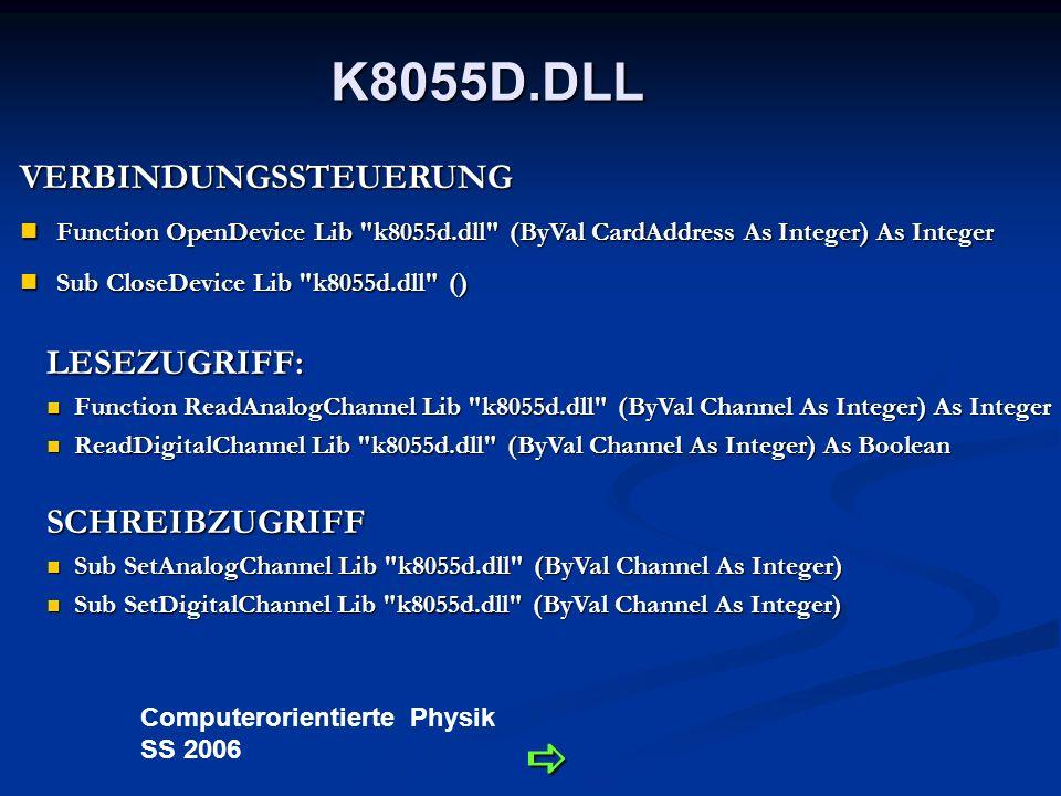 Computerorientierte Physik SS 2006 Applikationssoftware - Konfiguration Auswahl der Hardwareadresse und Verbinden mit Klick auf Connect.