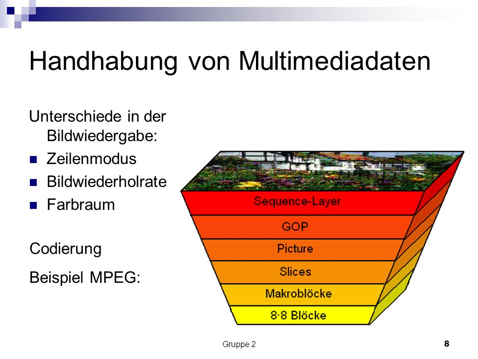 Gruppe 28 Handhabung von Multimediadaten Unterschiede in der Bildwiedergabe: Zeilenmodus Bildwiederholrate Farbraum Codierung Beispiel MPEG: