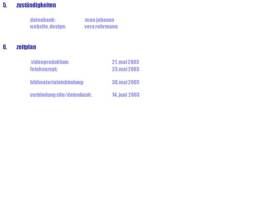 5.zuständigkeiten datenbank:sven johanns website, design: vera rohrmann 6.zeitplan videoproduktion:21. mai 2003 feinkonzept:23.mai 2003 bildmaterialei