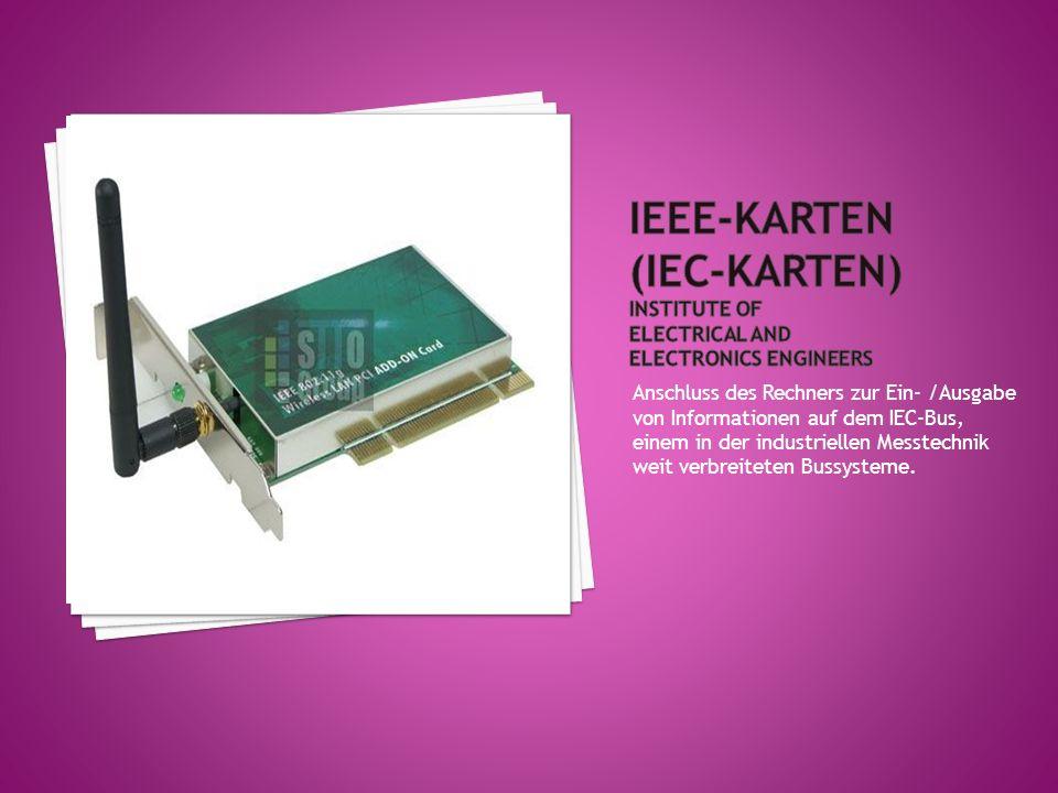 Erweiterungskarte für PCs und vor allem Notebooks; zurzeit gibt es Speicher, -E/A-, ISDN-,Modem- und Festplattenkarten.