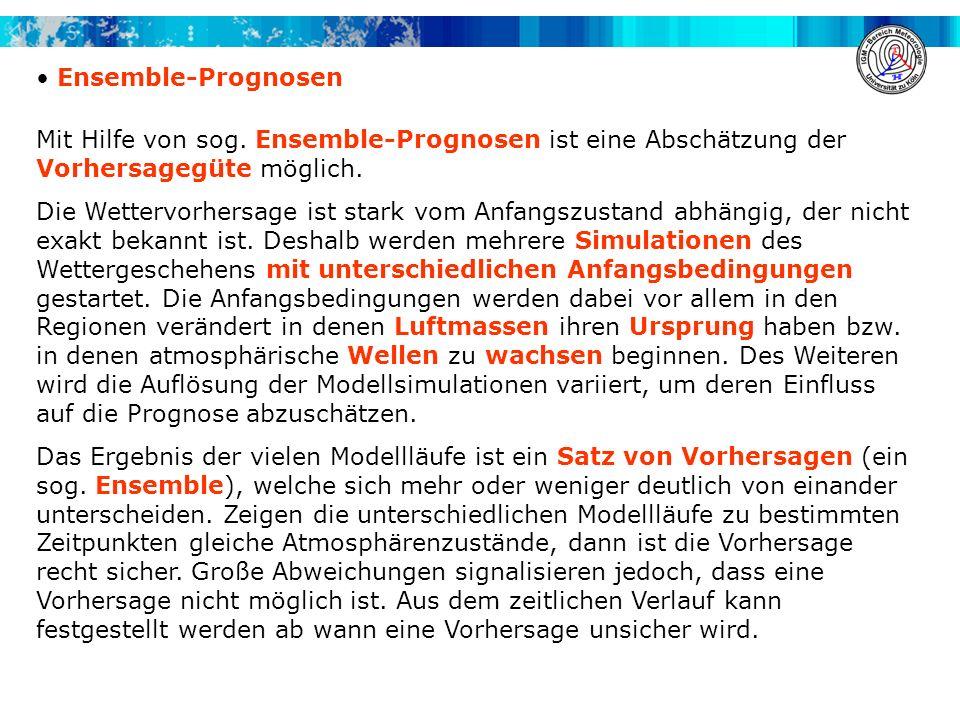 Ensemble-Prognosen Mit Hilfe von sog. Ensemble-Prognosen ist eine Abschätzung der Vorhersagegüte möglich. Die Wettervorhersage ist stark vom Anfangszu
